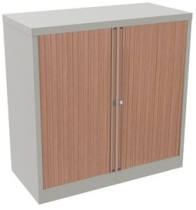 Bisley Essentials Tambour Low Cupboard Beech/ Silver