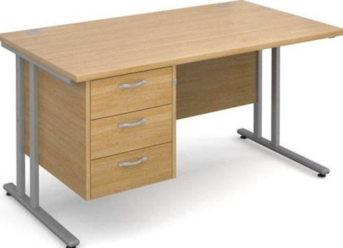 Dams Bulk Maestro 25 Rectangular Desk with 3 Shallow Drawers - (w) 1400mm x (d) 800mm