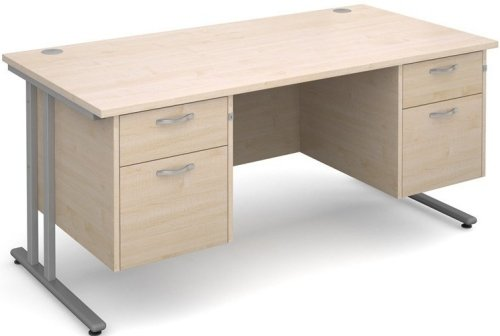 Dams Maestro 25 Rectangular Desk with 2 Shallow & 2 Filing Drawers - (w) 1600mm x (d) 800mm