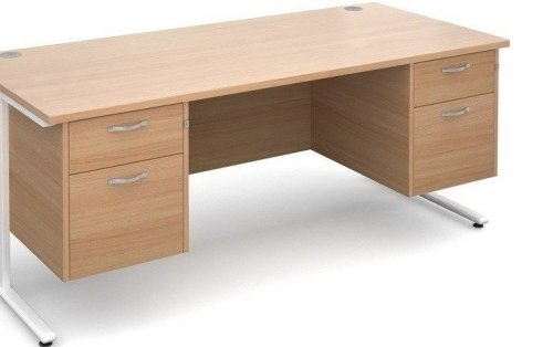 Dams Maestro 25 Rectangular Desk with 2 Shallow & 2 Filing Drawers - (w) 1800mm x (d) 800mm