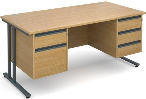 Dams Maestro 25 Rectangular Desk with 4 Shallow & 1 Filing Drawer - (w) 1600mm x (d) 800mm