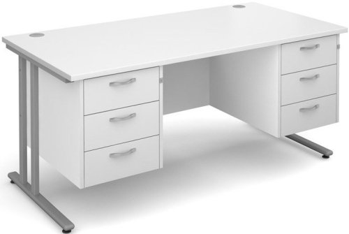 Dams Maestro 25 Rectangular Desk with 6 Shallow Drawers - (w) 1600mm x (d) 800mm