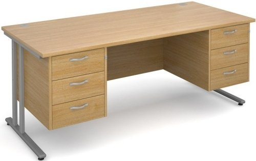 Dams Maestro 25 Rectangular Desk with 6 Shallow Drawers - (w) 1800mm x (d) 800mm
