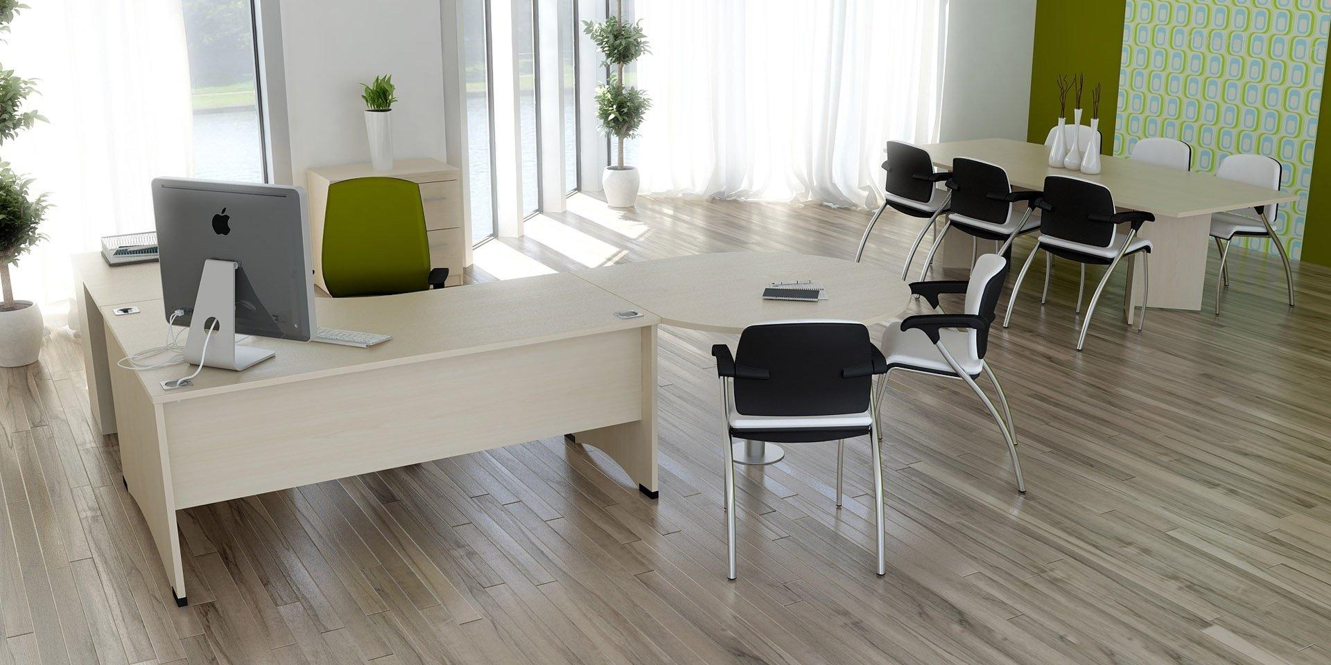 Home Office Furniture Uk Desk Set 18: Elite Windsor Bow Fronted Rectangular Desk 1600 X 900mm