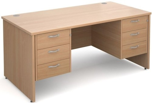Dams Maestro Rectangular Desk with Panel End Leg, 3 Drawer Pedestal & 3 Drawer Pedestal - (w) 1600mm x (d) 800mm