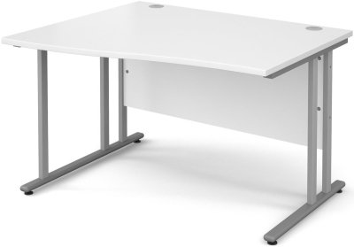 Dams Wave Desk with Twin Cantilever Legs - (w) 1600mm x (d) 800-990mm