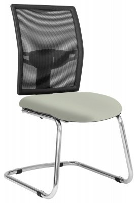 Elite Loreto Black Mesh Cantilever Meeting Chair Without Arms