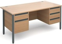 Dams Maestro 25 H-Frame Rectangular Desk with 4 Shallow & 1 Filing Drawer - (w) 1600 x (d) 800mm