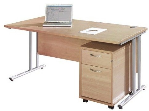 Dams Bulk Rectangular Desk with Twin Canitlever Legs - (w) 1400mm x (d) 800mm & 2 Drawer Pedestal