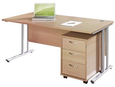 Dams Bulk Rectangular Desk with Twin Cantilever Legs - (w) 1400mm x (d) 800mm & 3 Drawer Pedestal