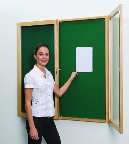 Beech Wood Tamperproof Noticeboards Double Door 1500 x 1000mm
