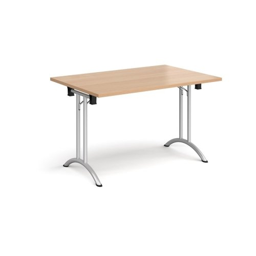 Dams Rectangular Folding Leg Table with Curved Foot Rails 1400 x 800mm