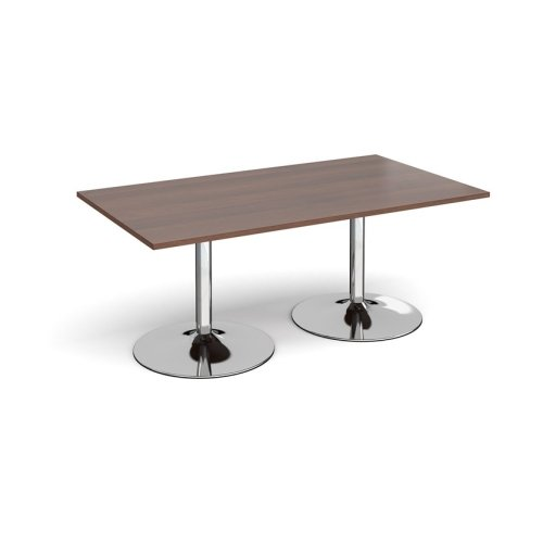 Dams Chrome Trumpet Base Rectangular Boardroom Table 1800 x 1000mm