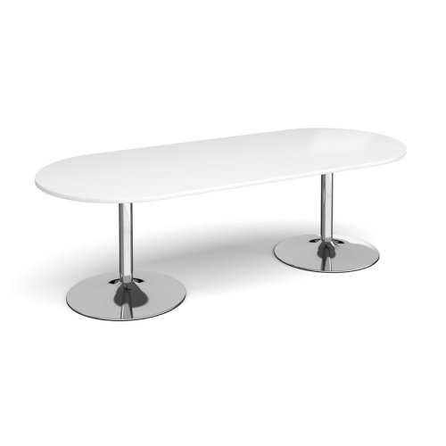 Dams Chrome Trumpet Base Radial End Boardroom Table 2400 x 1000mm