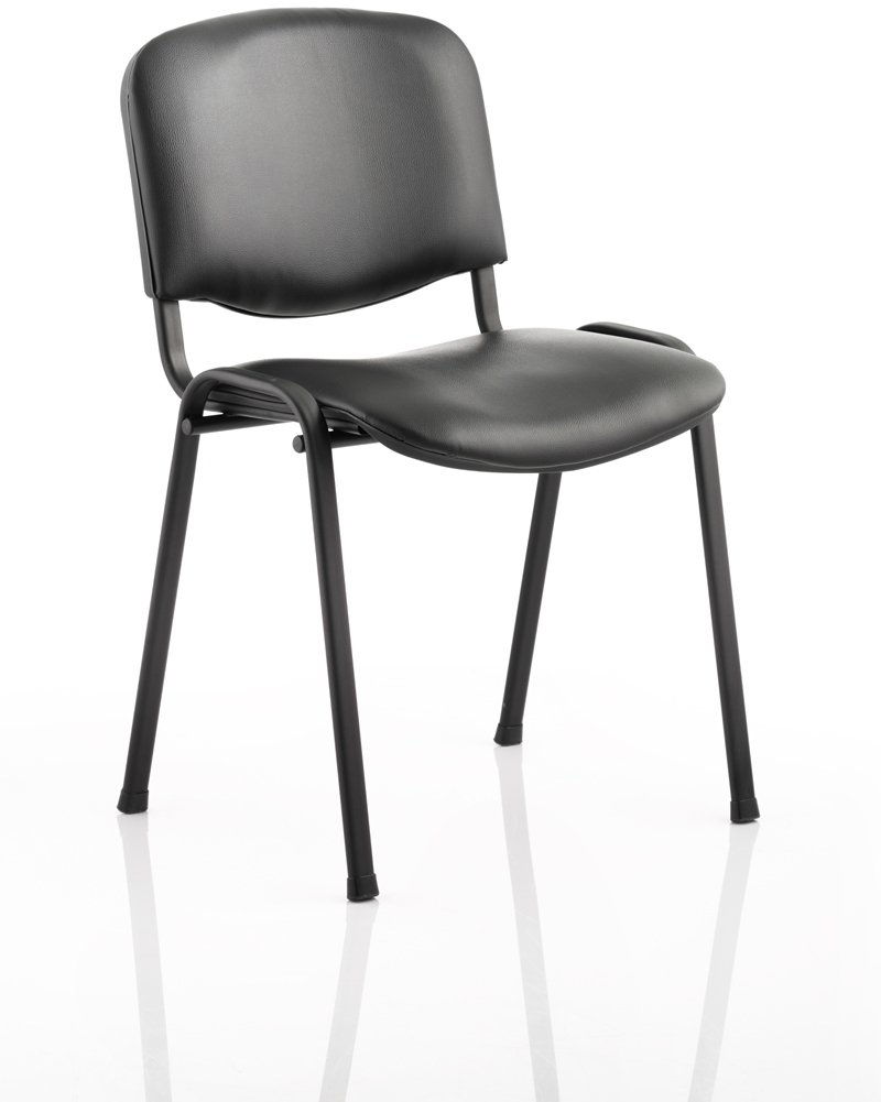Dynamic Iso Black Frame Stacking Conference Chair Vinyl Finish With Fixed Arms