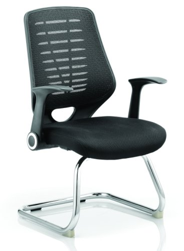 Gentoo Relay Visitor Cantilever Airmesh Seat Black Back Chair with Arms