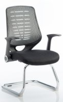 Gentoo Relay Cantilever Visitor Airmesh Seat Silver Back Chair with Arms
