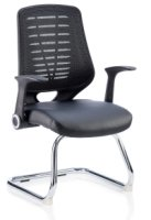 Gentoo Relay Cantilever Visitor Chair Leather Seat with Arms