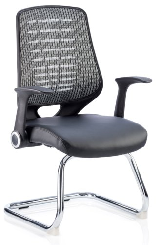 Gentoo Relay Cantilever Visitor Chair Leather Seat Silver Back with Arms