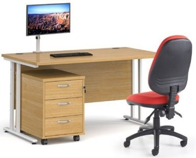 Dams Bulk Maestro 25 Desk (w) 1400mm x (d) 800mm with 3 Drawer Mobile Pedestal, Vantage Operator Chair & Single Screen Monitor Arm