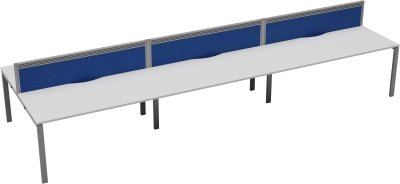 TC Office Bench Desk, Pod of Six, Screen Depth - (w) 3600 x (d) 1560mm