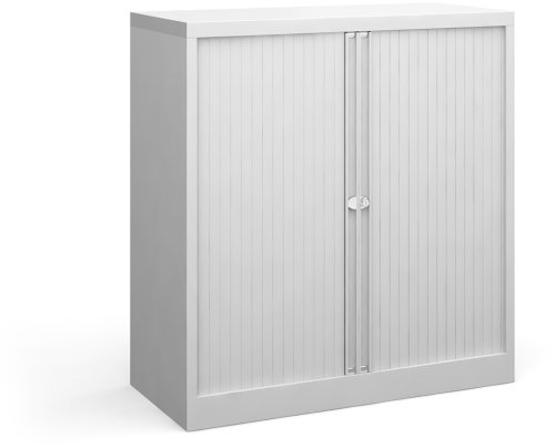 Bisley Steel Small Tambour Cupboard - (w) 1000mm x (d) 470mm x (h) 1016mm