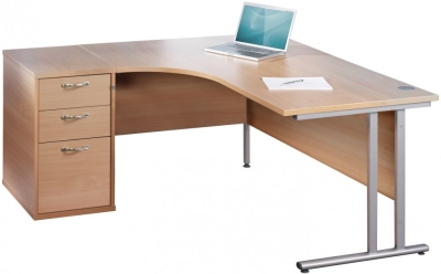 Dams Bulk Corner Desk with Twin Cantilever Legs - (w) 1400mm x (d) 1200mm & Desk High Pedestal