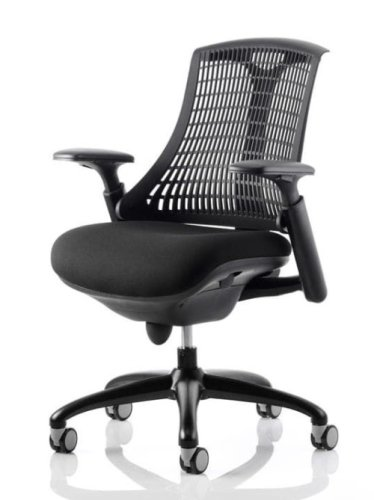 Gentoo Flex Task Operator Chair With Black Frame Black Fabric Black Back With Arms