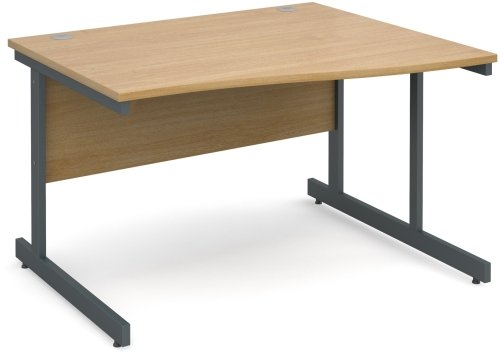 Dams Wave Desk with Single Cantilever Legs - (w) 1400mm x (d) 800mm-990mm