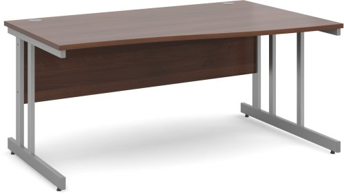 Dams Wave Desk with Twin Cantilever Legs - (w) 1600mm x (d) 800mm-990mm