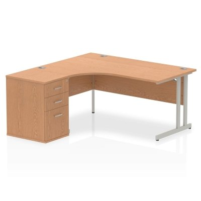 Gentoo Bulk Corner Desk with Twin Cantilever Legs & Desk High Pedestal - (w) 1600mm x (d) 1200mm