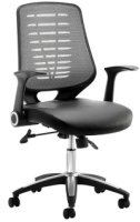 Gentoo Relay Leather Operator Chair Silver Back