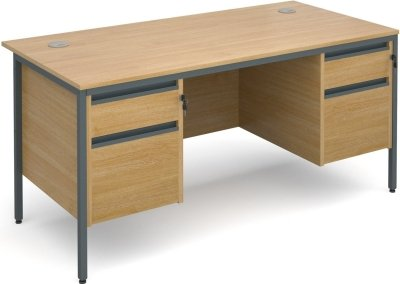 Dams Maestro H Frame Rectangular Desk with 2 Shallow & 2 Filing Drawers - (w) 1532mm x (d) 746mm