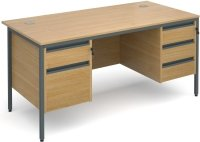 Dams Maestro H Frame Rectangular Desk with 4 Shallow & 1 Filing Drawer - (w) 1532mm x (d) 746mm