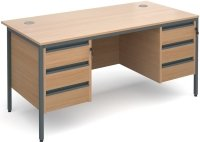Dams Maestro H Frame Rectangular Desk with 6 Shallow Drawers - (w) 1532mm x (d) 746mm