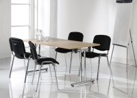 Dams Bulk 1400mm Folding Leg Meeting Table with 4 Chrome Frame Taurus Chairs