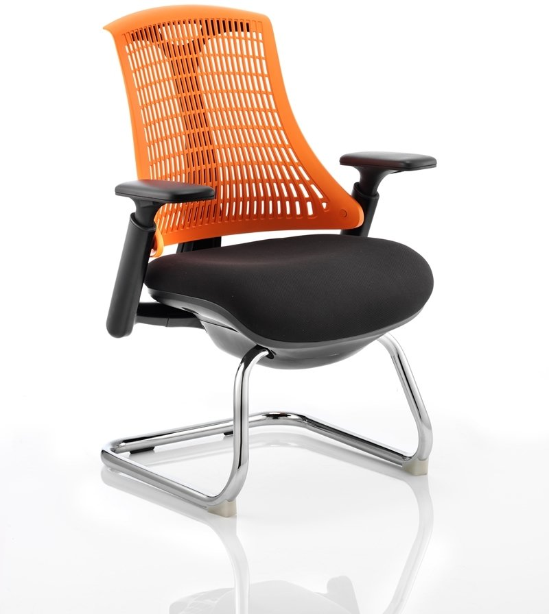 Dynamic Flex Visitor Cantilever Fabric Seat Chair With Back And Arms BlackGreen