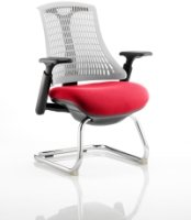 Gentoo Flex Cantilever Black Frame White Back and Bespoke Fabric Seat