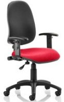 Gentoo Eclipse Plus 1 Operator Black Back Chair Bespoke Fabric Seat with Height Adjustable Arms