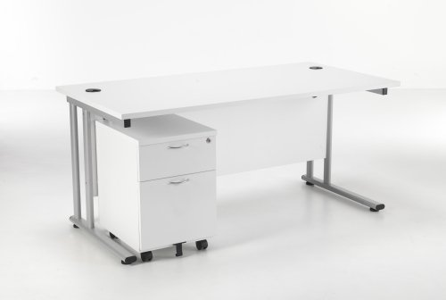 Lite Rectangular Cantilever Desk with 2 Drawer Pedestal 1200 x 800mm + Lite 2 Lever Operator Chair