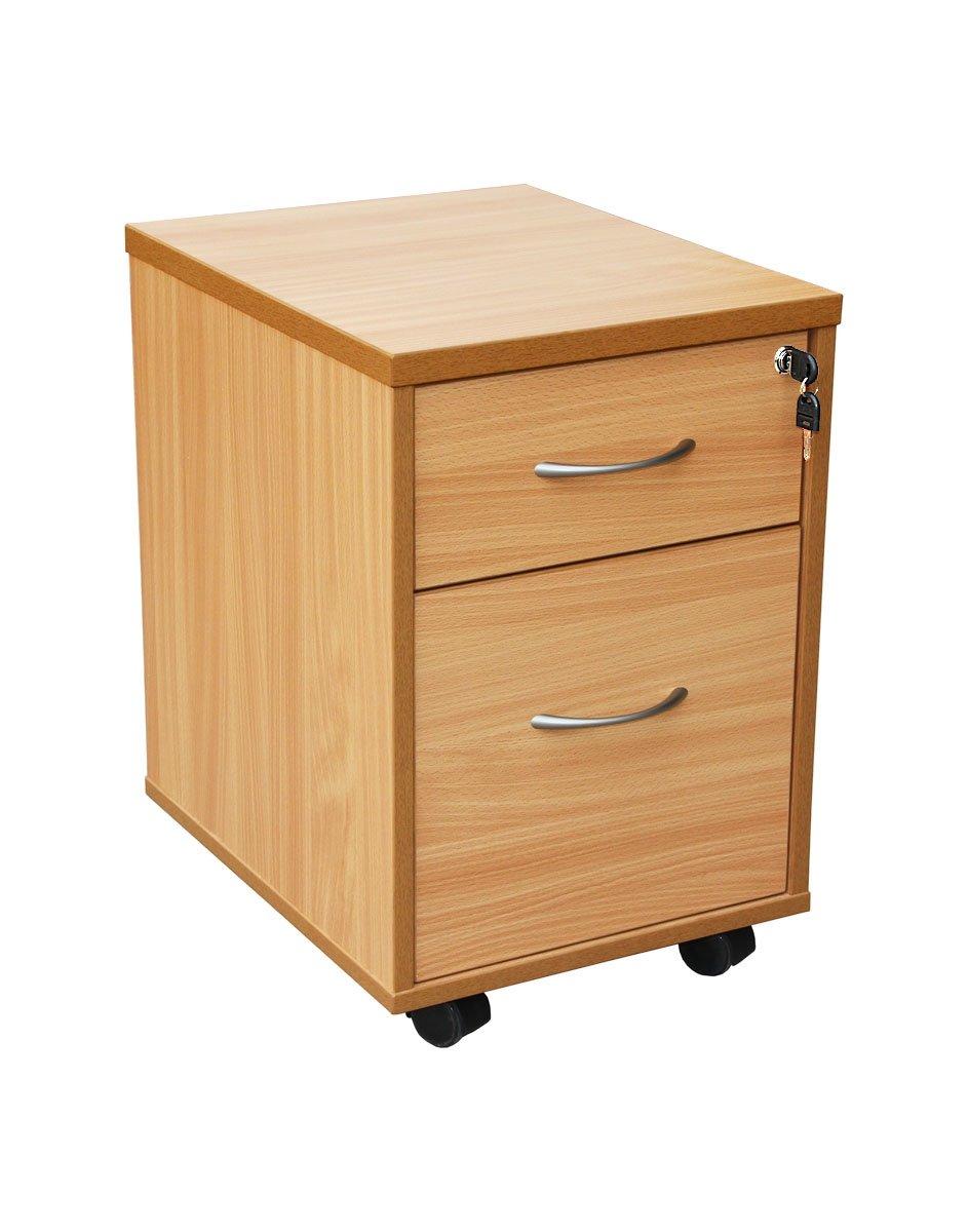 Lite 2 Drawer Mobile Pedestal Beech