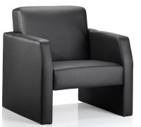 Gentoo Oracle Single Black Leather Reception Chair