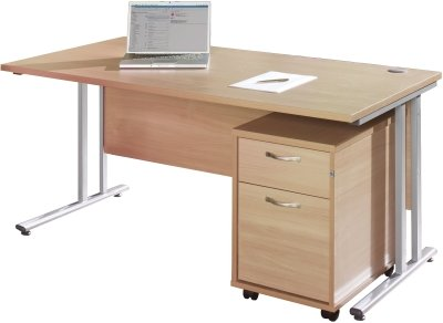 Gentoo Bulk Rectangular Desk (w) 1400mm x (d) 800mm & 2 Drawer Mobile Pedestal