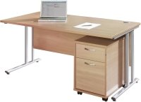 Gentoo Bulk Rectangular Desk (w) 1600mm x (d) 800mm & 2 Drawer Mobile Pedestal
