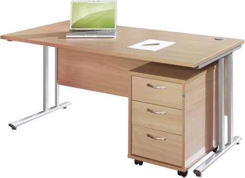 Gentoo Rectangular Desk (w) 1400mm x (d) 800mm & 3 Drawer Mobile Pedestal