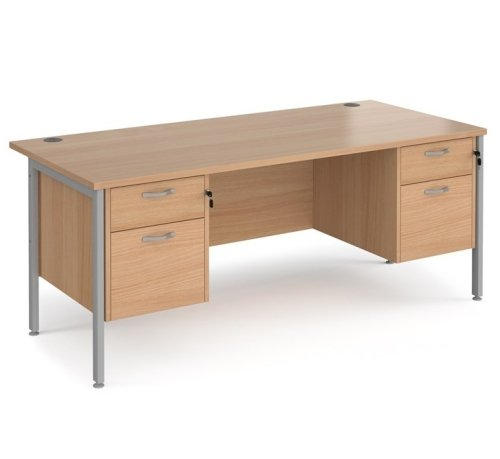 Dams Maestro 25 H-Frame Rectangular Desk with 2 Shallow & 2 Filing Drawers - (w) 1800mm x (d) 800mm