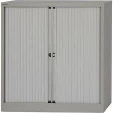 Bisley Essentials Tambour Low Cupboard Goose Grey
