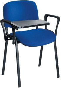 Club Fabric Chrome Frame Chair With Plastic Writing Tablet