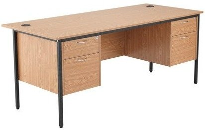 TC Office Start 18 Rectangular Desk with 4 Drawer Double Pedestal - (w) 1786mm x (d) 746mm