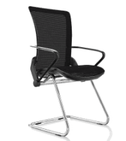 Comfort Lii Cantilever Chair Black Frame Polished Chrome Base